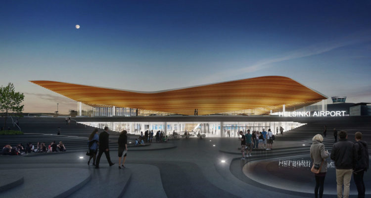 Helsinki Airport Terminal Gets New Expansion Featuring Undulating Wooden Roof