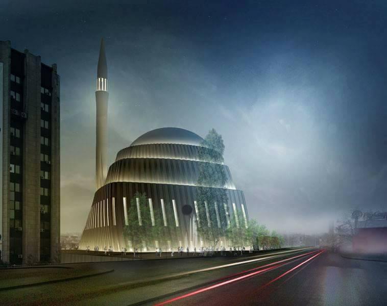 تصميم مجمع اسلامي بمدينة بريشتينا عاصمة كوسوفو .. وقد فاز بالمركز الثاني ضمن مسابقة نظمتها الجمعية الاسلامية في كوسوفو عام 2013
